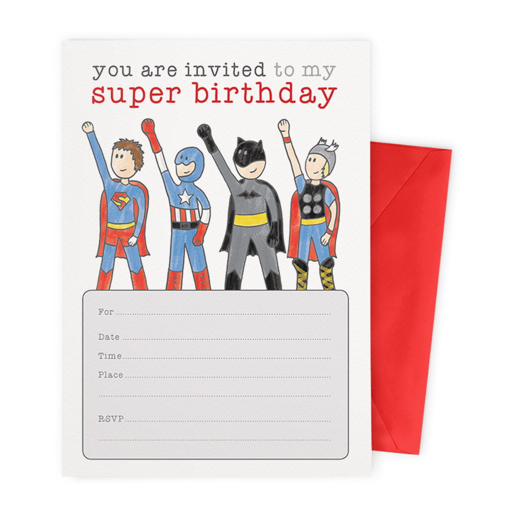 superhero party blank invitation set tiny viking co